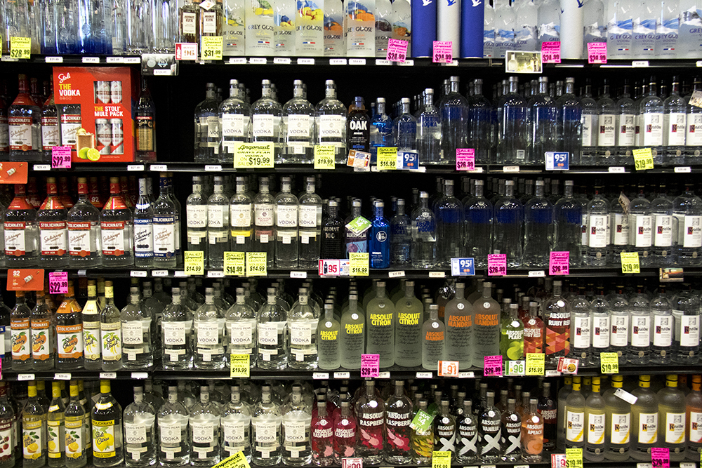 The vodka selection at Argonaut Wine & Liquor, Colfax and Clarkson. (Kevin J. Beaty/Denverite)  beer; wine; liquor store; argonaut; capitol hill; denver; denverite; colorado; kevinjbeaty;