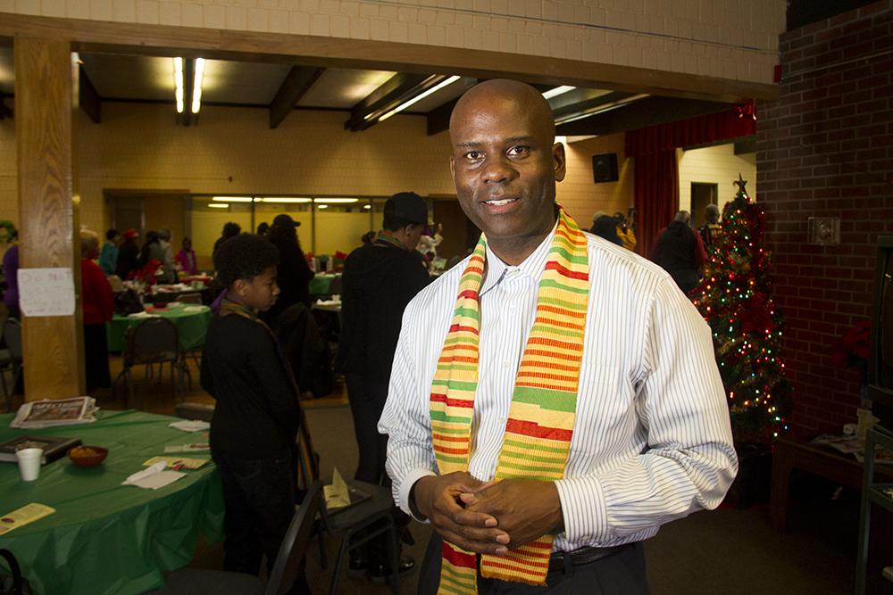 Brother Jeff Fard. The 2016 Kwanzaa Elders Luncheon at Zion Senior Center in Northeast Park Hill. Dec. 28, 2016. (Kevin J. Beaty/Denverite)  kwanzaa; culture; kevinjbeaty; denver; denverite; northeast park hill; colorado;