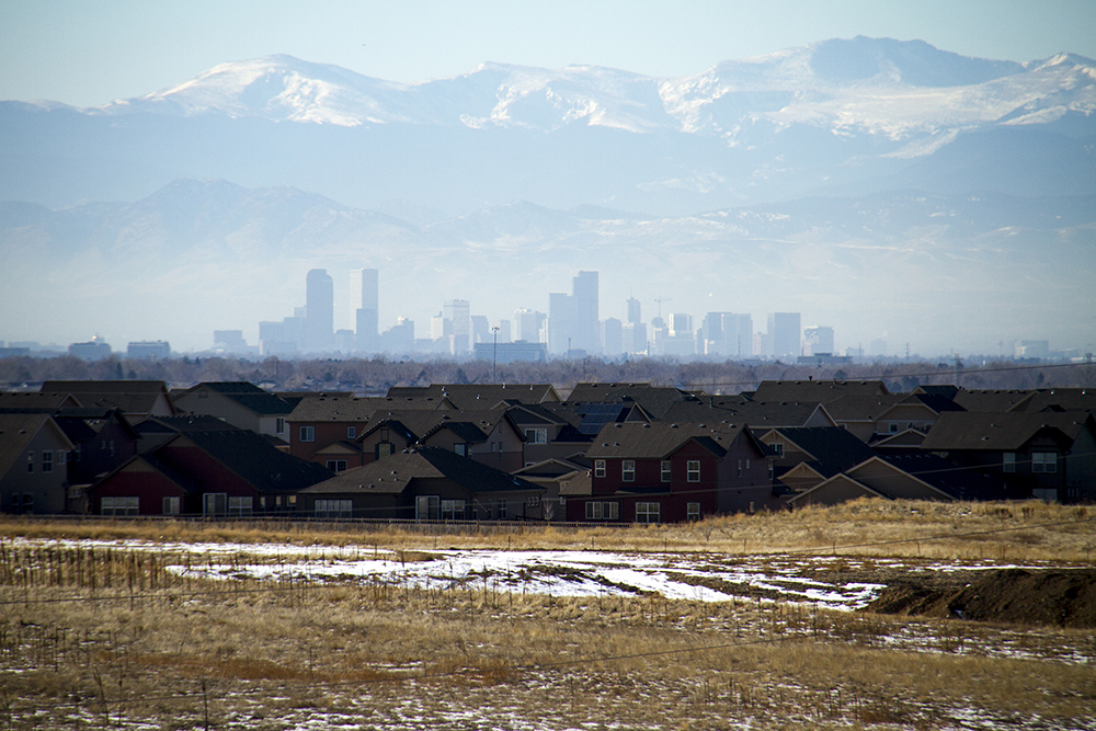 The Denver skyline and the 'burbs. (Kevin J. Beaty/Denverite)  residential real estate; skyline; cityscape; denver; denverite; colorado; winter; kevinjbeaty;