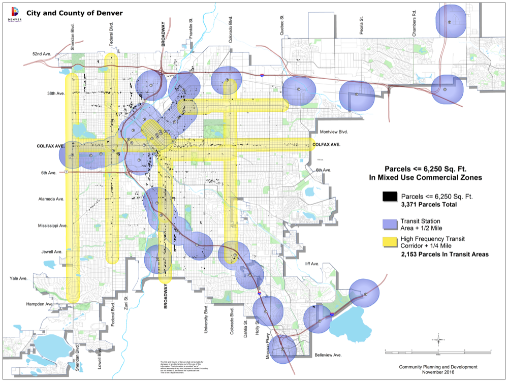 Developers building in areas with better transit access would get to build more before any parking requirements kick in. (Map courtesy Denver Community Planning and Development.)