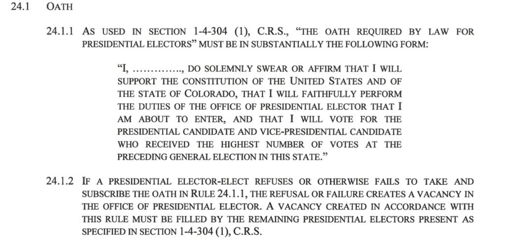 New oath of office for Colorado electors as announced by Secretary of State Wayne Williams.