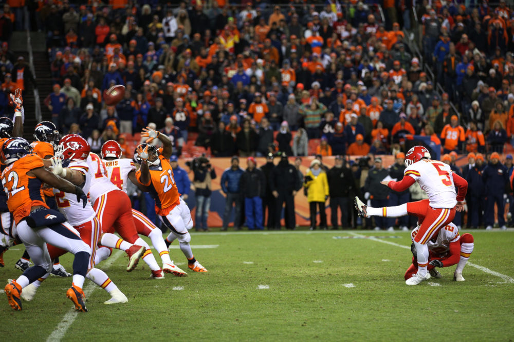 Kansas City Chiefs placekicker Cairo Santos (5) kicks a field goal in overtime to win the game at Sports Authority Field at Mile High in Denver, CO, November 27, 2016. Photo by Gabriel Christus
