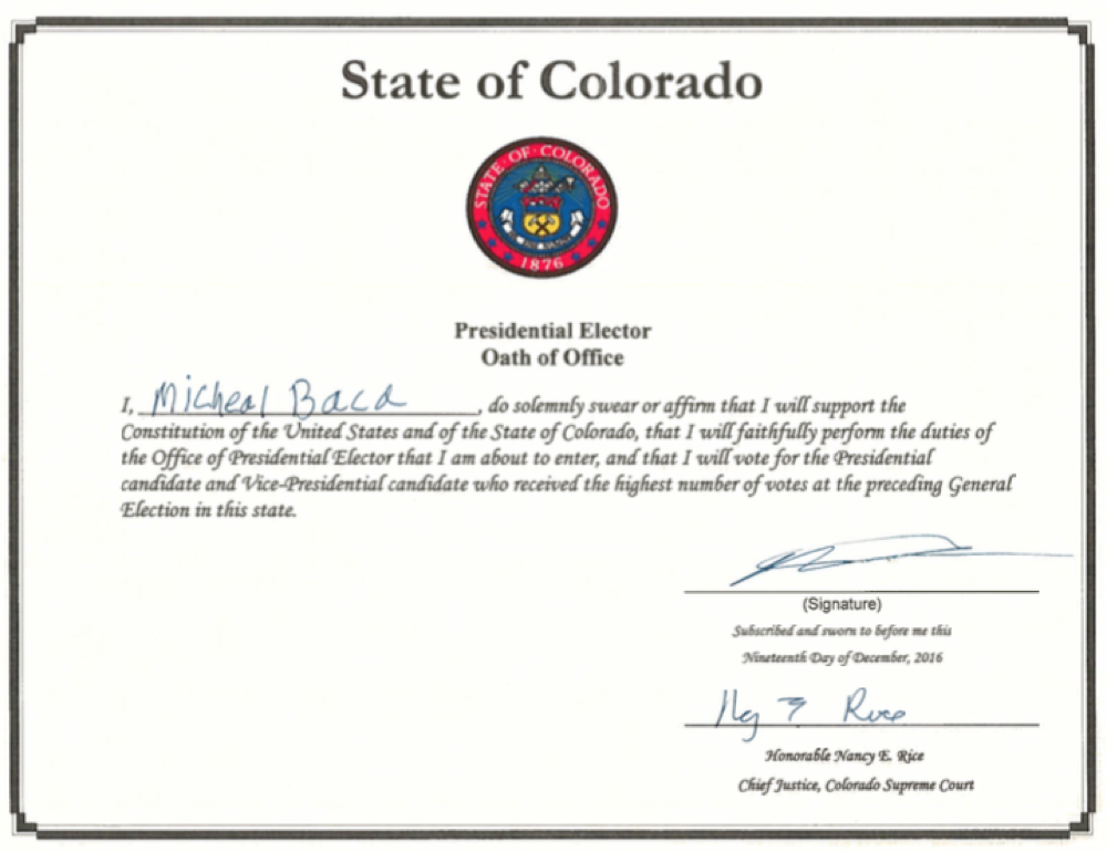 Elector Micheal Baca's oath of office. (Courtesy Colorado Secretary of State's Office)