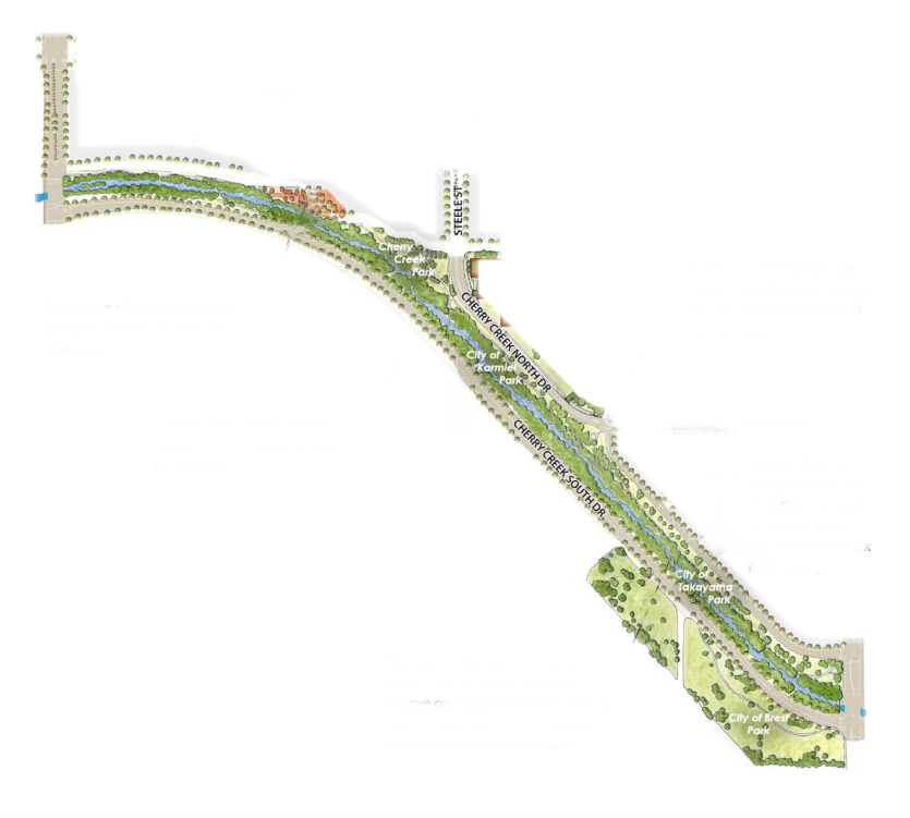 An illustration of the portion of Cherry Creek being considered for a revamp. (City of Denver/edited by Andrew Kenney)