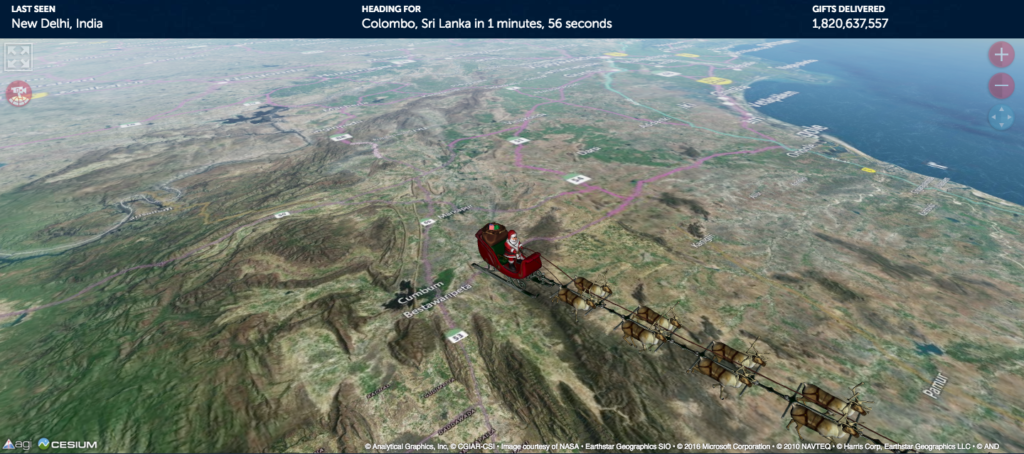 Santa's status at approximately 10 a.m. MT, according to NORAD.
