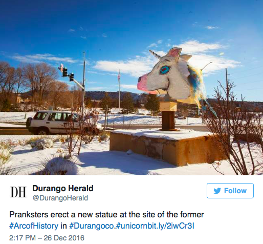 Screenshot of Durango Herald unicorn head tweet.