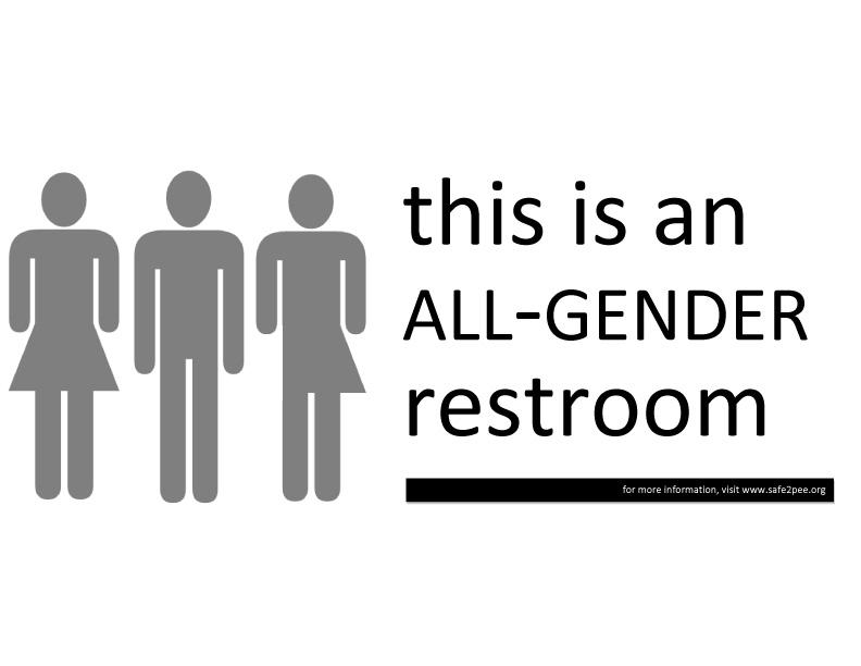 Gender neutral bathroom sign. (Samir Luther, Flickr)