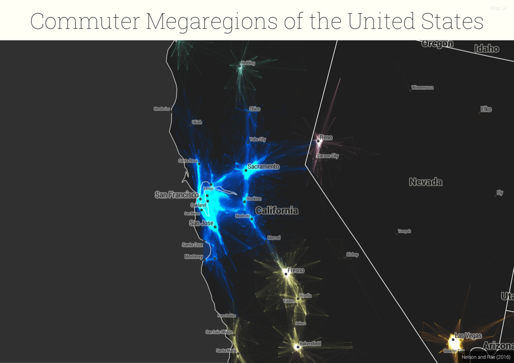 "A map of millions of commutes shows the United States' ""megaregions."" (S. Sobolevsky, R. Campari, A. Belyi, and C. Ratti ""General optimization technique for high-quality community detection in complex networks"" Phys. Rev. E 90, 012811 2014)"