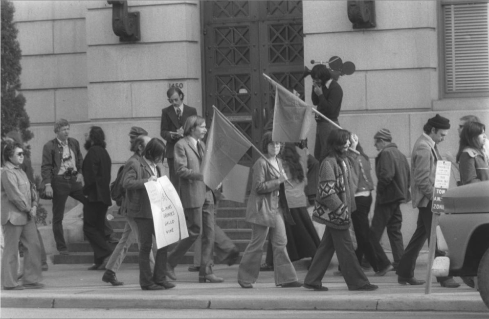 """United Farm Workers of America (UFW) supporters picket the Denver City and County building in 1975. The picketers protest Judge Robert Cummins' decision to jail UFW coordinator Jerry Ryan for refusing to remove his """"Boycott Gallo"""" button at the beginning of his trial for a prior arrest for picketing. Denver Boycott supporters were cited and/or arrested 102 times during the Gallo boycott between 1974-1976. Defended pro-bono by National Lawyers Guild, supporters were never convicted of a single charge brought by police when arrests were made in attempts to break the boycott. (Denver Public Library/Mike Wilzoch/Western History Department/AUR-2469)"""