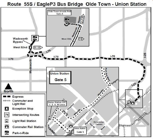 The temporary 55S bus service map. (RTD)