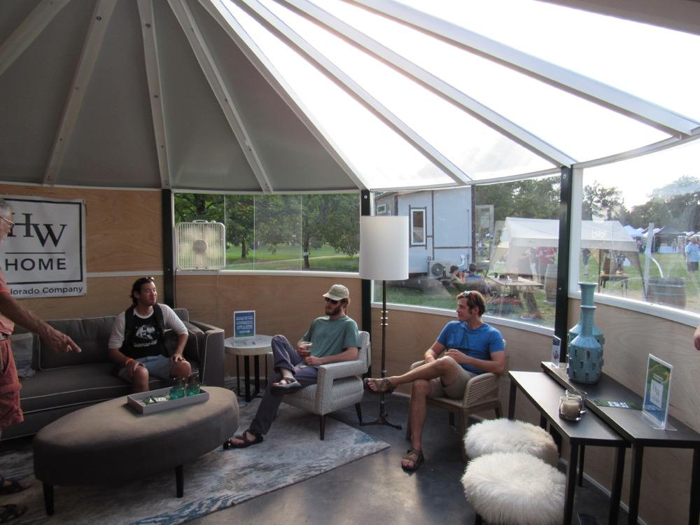 Visitors gather in a circHouse yurt at Denver Flea. (Courtesy Edward Ryan)