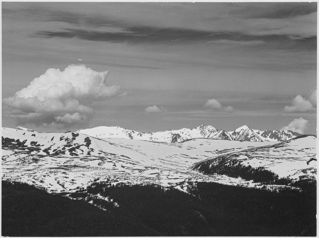 The Never Summer Range between 1933 and 1942. (Ansel Adams)