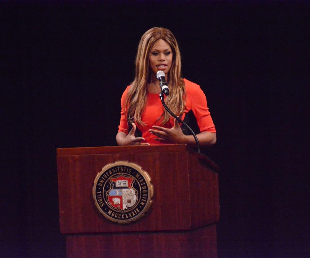 Laverne Cox speaks at the Missouri Theatre. (KOMUnews/Flickr)