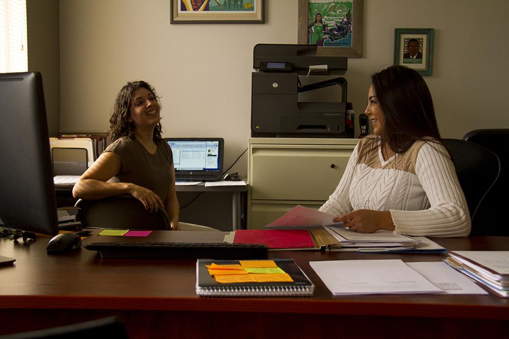 Luz Ontiveros (right) and Gabriela Hernandez in their office. (Kevin J. Beaty/Denverite)  immigration; daca; undocumented; denver; denverite; colorado; kevinjbeaty;