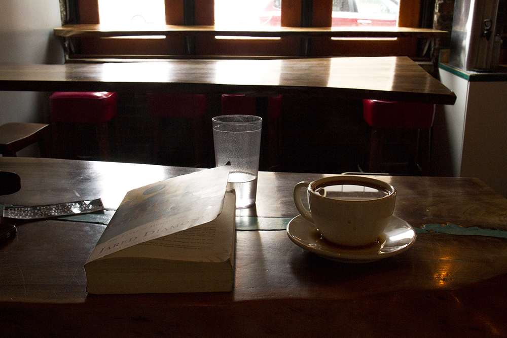 Coffee and a book inside Pablo's Coffee on Pennsylvania Avenue. (Kevin J. Beaty/Denverite)  snow; weather; cowx; cozy; coffee shop; capitol hill; food; denver; denverite; colorado; kevinjbeaty