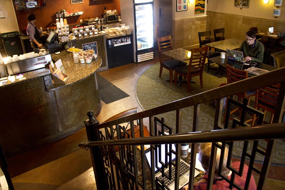 Joseph Mondragon (right) works inside Drip Coffee on Lincoln. (Kevin J. Beaty/Denverite)  coffee shop; capitol hill; food; denver; denverite; colorado; kevinjbeaty;