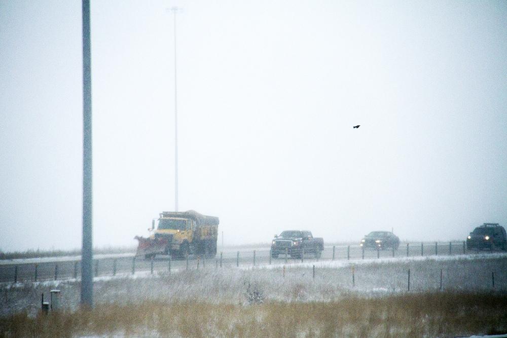 A plow on a frigid morning. Jan. 5, 2016. (Kevin J. Beaty/Denverite)  snow plow; snow; weather; cowx; denverite; denver; colorado; kevinjbeaty;