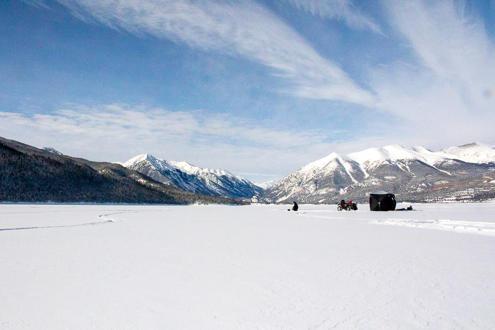 Ice fishing near Twin Lakes, Colorado. (Chloe Aiello/Denverite)