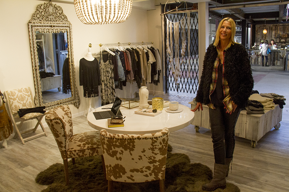 Danielle Can Ede inside her shop, Sterre. Stanley Marketplace. Jan 7, 2016. (Kevin J. Beaty/Denverite)  stanley marketplace; aurora; retail; kevinjbeaty; colorado; denverite;