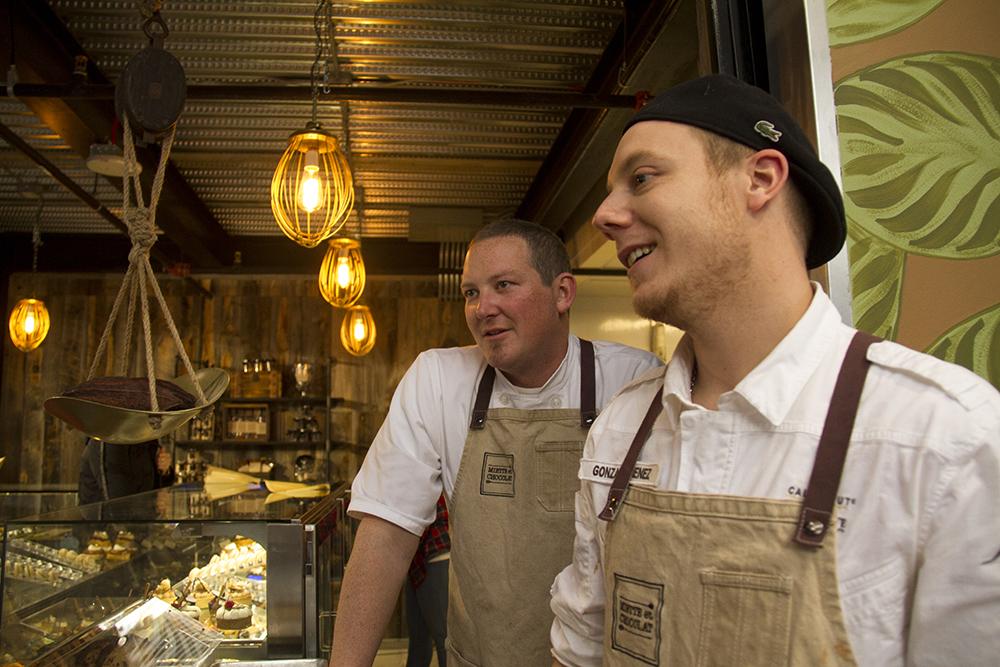 Miette et Chocolat co-founders Gonzalo Jimenez (right) and David Lewis. Stanley Marketplace. Jan 7, 2016. (Kevin J. Beaty/Denverite)  stanley marketplace; aurora; retail; kevinjbeaty; colorado; denverite;
