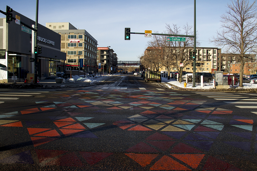 Art in the intersection on West Colfax at Raleigh Street. Jan 9, 2016. (Kevin J. Beaty/Denverite)  west colfax; business improvement district; kevinjbeaty; denver; denverite; colorado;