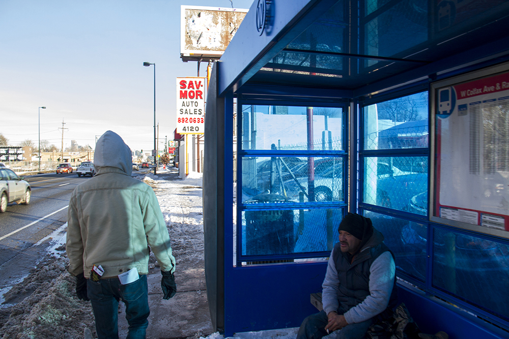 A bus enclosure on West Colfax Avenue. Jan 9, 2016. (Kevin J. Beaty/Denverite)  bus stop; transit; rtd; west colfax; business improvement district; kevinjbeaty; denver; denverite; colorado;