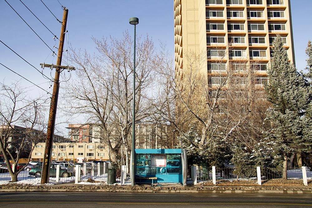 A bus enclosure on West Colfax Avenue. Jan 9, 2016. (Kevin J. Beaty/Denverite)  bus stop; transit; rtd; west colfax; business improvement district; kevinjbeaty; denver; denverite; colorado;