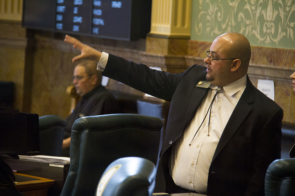 District 31 Representative Joe Salazar. The first day of the Colorado state legislative session. Jan 11, 2017. (Kevin J. Beaty/Denverite)  legislature; copolitics; politics; legislative session; capitol; kevinjbeaty; denver; denverite; colorado;