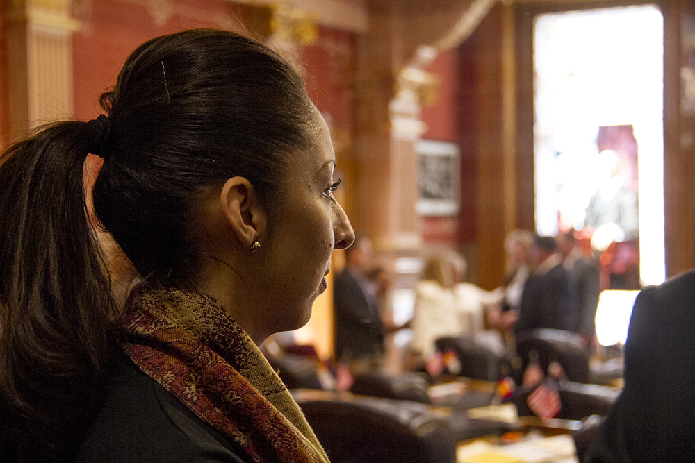 Local activist Candi CdeBaca attends the first day of the Colorado state legislative session. Jan 11, 2017. (Kevin J. Beaty/Denverite)  legislature; copolitics; politics; legislative session; capitol; kevinjbeaty; denver; denverite; colorado;