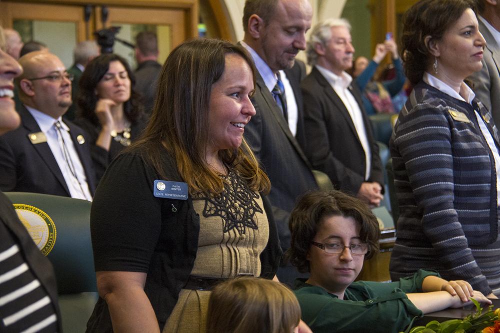 District 35 Representative Faith Winter. The first day of the Colorado state legislative session. Jan 11, 2017. (Kevin J. Beaty/Denverite)  legislature; copolitics; politics; legislative session; capitol; kevinjbeaty; denver; denverite; colorado;