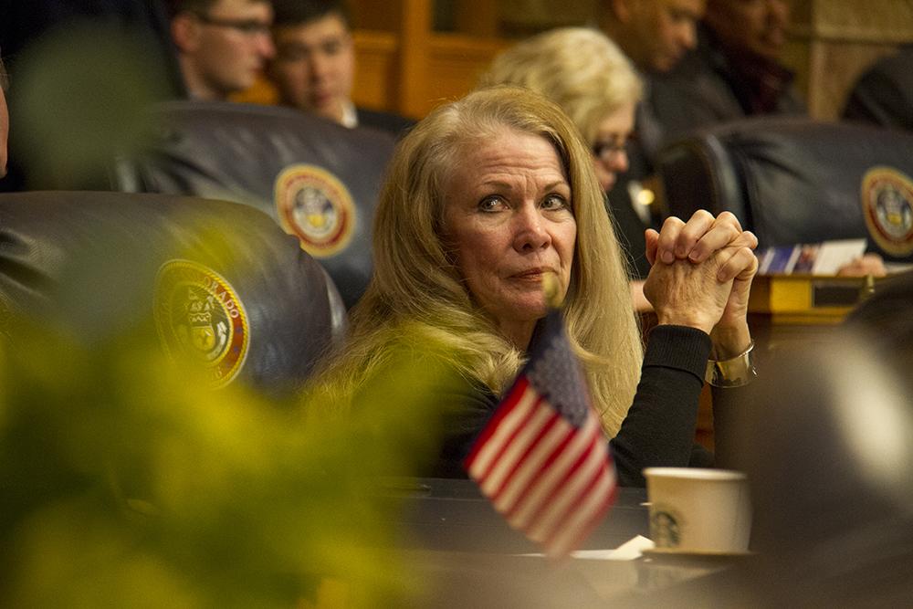 District 23 Senator Vicki Marble. The first day of the Colorado state legislative session. Jan 11, 2017. (Kevin J. Beaty/Denverite)  legislature; copolitics; politics; legislative session; capitol; kevinjbeaty; denver; denverite; colorado;