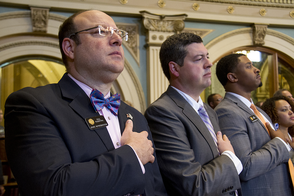 District 9 Representative Paul Rosenthal stands for the Pledge of Allegiance. The first day of the Colorado state legislative session. Jan 11, 2017. (Kevin J. Beaty/Denverite)  legislature; copolitics; politics; legislative session; capitol; kevinjbeaty; denver; denverite; colorado;