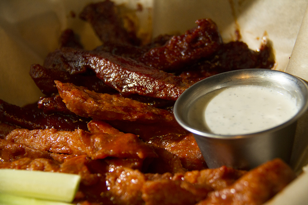 Bar-B-Que and Buffalo seitan at City O' City. (Kevin J. Beaty/Denverite)  vegetarian; food; restaurant; kevinjbeaty; denver; denverite; colorado;