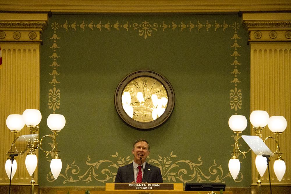 Colorado Governor John Hickenlooper gives his annual state of the state address. Jan. 12, 2017. (Kevin J. Beaty/Denverite)  state of the state; copolitics; politics; governor john hickenlooper; capitol; kevinjbeaty; colorado; denver; denverite;