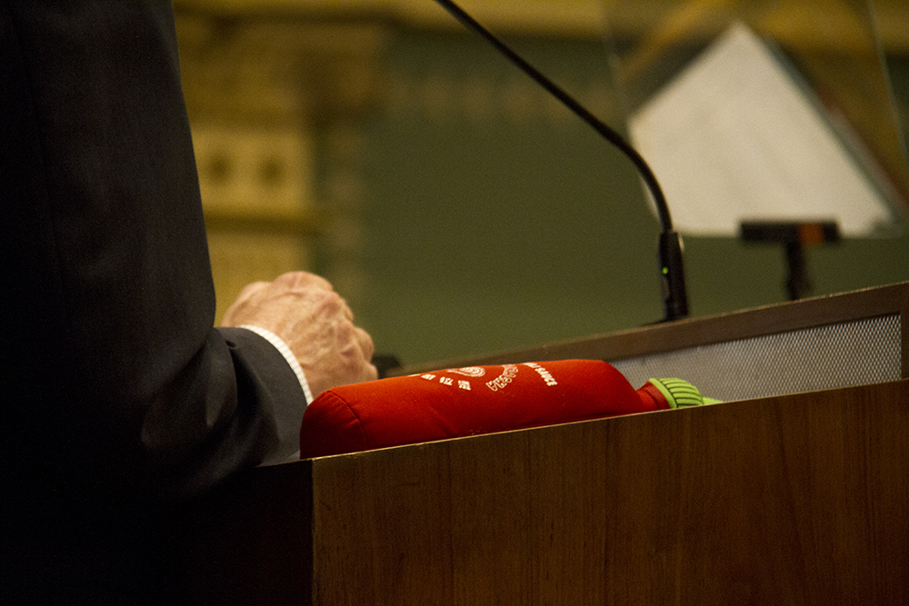 A Sriracha mystery during Colorado Governor John Hickenlooper's annual state of the state address. Jan. 12, 2017. (Kevin J. Beaty/Denverite)  state of the state; copolitics; politics; governor john hickenlooper; capitol; kevinjbeaty; colorado; denver; denverite;