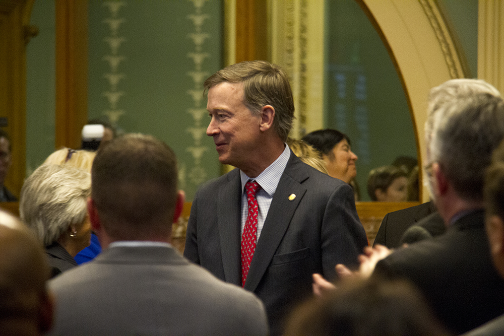 Colorado Governor John Hickenlooper enters the House chambers before his annual State of the State Address. Jan. 12, 2017. (Kevin J. Beaty/Denverite)  state of the state; copolitics; politics; governor john hickenlooper; capitol; kevinjbeaty; colorado; denver; denverite;
