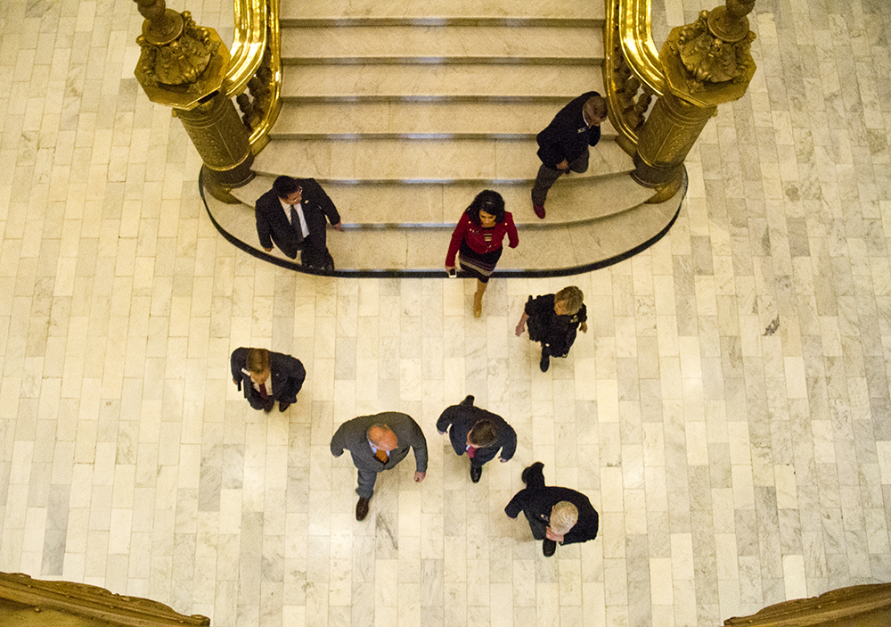 Colorado Governor John Hickenlooper walks down the Capitol steps after his annual State of the State Address. Jan. 12, 2017. (Kevin J. Beaty/Denverite)  state of the state; copolitics; politics; governor john hickenlooper; capitol; kevinjbeaty; colorado; denver; denverite;