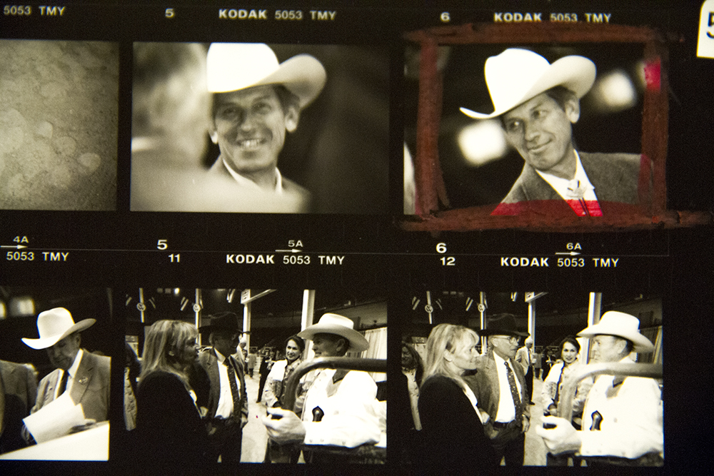 A black-and-white contact sheet of photos taken at the National Western Stock Show. Date unknown. (Denver Public Library/Western History Collection/Denver Metro Chamber of Commerce Records)  denver; denverite; denver public library; western history collection; archive; archival; National Western Stock Show; nwss;