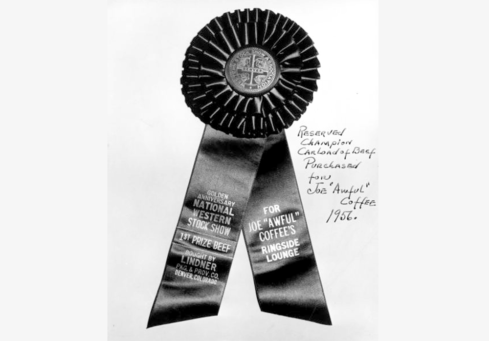 "View of an award ribbon granted to Joe ""Awful"" Coffee's Ringside Lounge in Denver, Colorado. 1956. (Cloyd M. Teter/Denver Public Library/Western History Collection/X-29471)  denver; denverite; denver public library; western history collection; archive; archival; National Western Stock Show; nwss;"