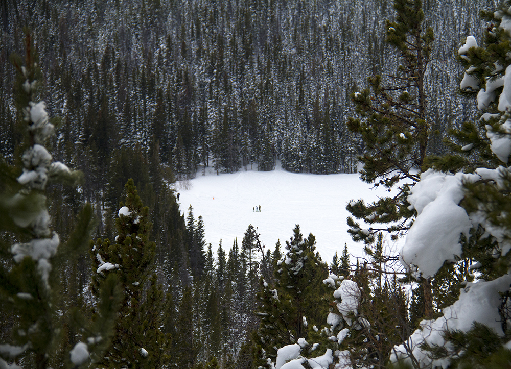 Bear Lake in Rocky Mountain National Park, seen from the trail to Odessa Lake. Jan. 15, 2017. (Kevin J. Beaty/Denverite)  nature; rocky mountain national park; snowshoe; hike; winter; weather; kevinjbeaty; denverite; colorado;