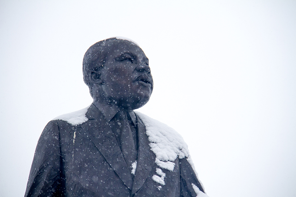 The Martin Luther King Jr. statue in City Park, Jan. 16, 2017. (Kevin J. Beaty/Denverite)  mlk; marade; martin luther king jr; city park; denver; colorado; kevinjbeaty; weather; cowx;