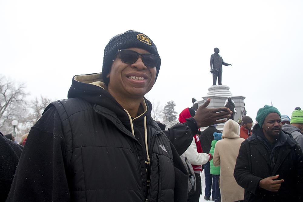 Denver Alpha Phi Alpha president Andre Stott. The Martin Luther King Jr. Marade, Jan. 16, 2017. (Kevin J. Beaty/Denverite)  mlk; marade; martin luther king jr; city park; denver; colorado; kevinjbeaty;
