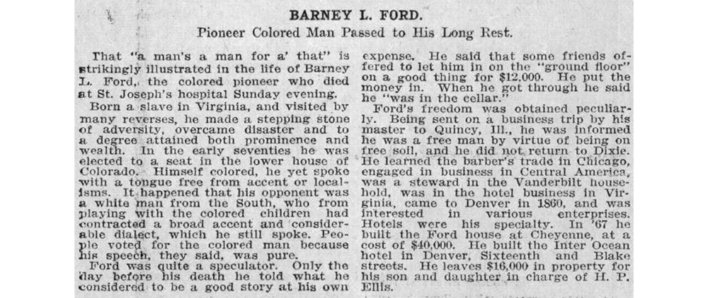 Barney Ford's obituary in the Rocky Mountain News, Dec. 17, 1902. (Denver Public Library/Western History Collection/Z-8872)  archive; denver public library; dpl; historic; histoty;