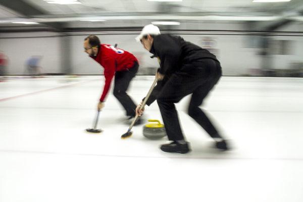 Team Sobering on the ice at the Denver Curling Club in Golden, Jan. 18, 2017. (Kevin J. Beaty/Denverite)  curling; denver curling club; sports; kevinjbeaty; denver; denverite; colorado;