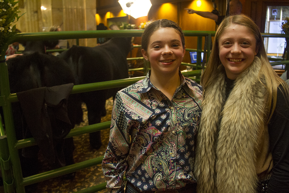 Mikal Grady (15, left) and Lillie Skiles, owners of the first and second place National Western Stock Show prize-winning steers. Tea time at the Brown Palace. Jan. 20, 2017. (Kevin J. Beaty/Denverite)  brown palace; stock show; animals; cow; kevinjbeaty; denver; denverite; colorado;