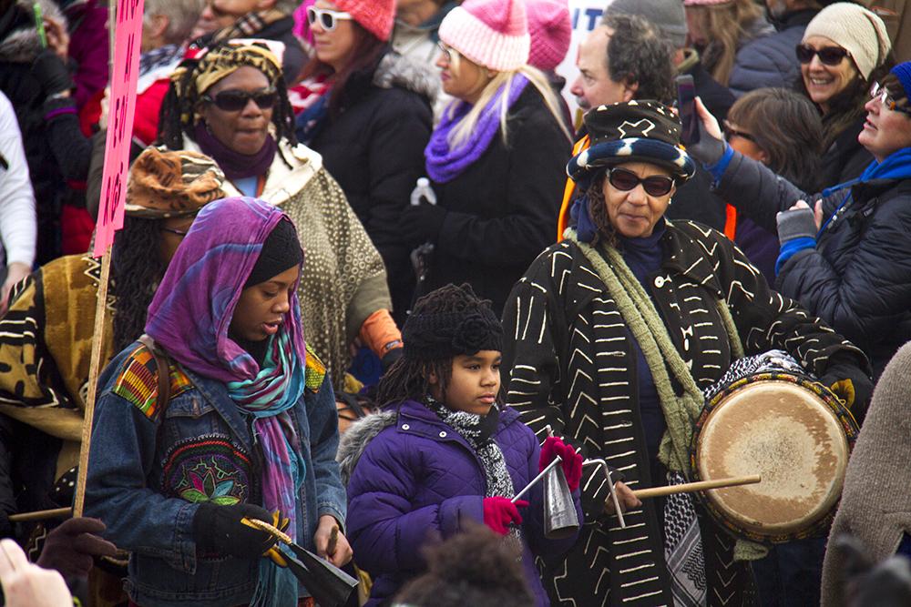 Drummers lad the Women's March on Denver out of Civic Center Park. Jan. 21, 2017. (Kevin J. Beaty/Denverite)