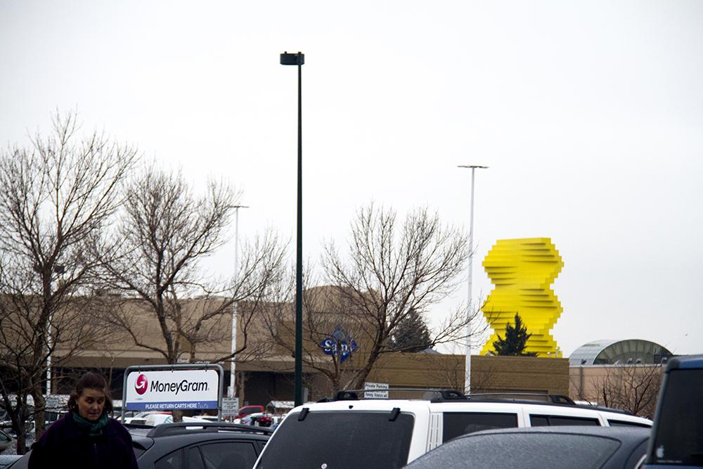 The Articulated Wall as seen from a nearby parking lot. (Kevin J. Beaty/Denverite)  herbert bayer; public art; articulated wall; denver design district; denver; denverite; kevinjbeaty; colorado;