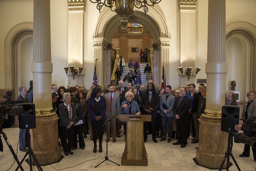 "Colorado leaders gather to speak out against HB 1031, the hotly contested ""religious freedom"" bill. (Chloe Aiello/Denverite)"