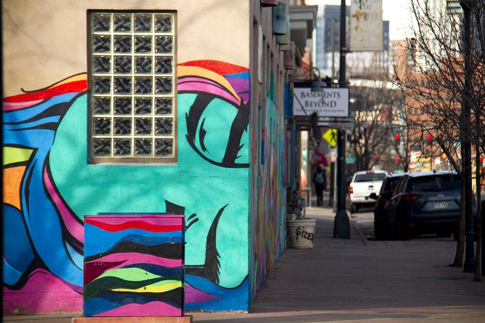 Art on the walls of the Design Showrooms along the Art District on Santa Fe. (Kevin J. Beaty/Denverite)  art district on santa fe; bid; lincoln park; denver; colorado; denverite; kevinjbeaty;