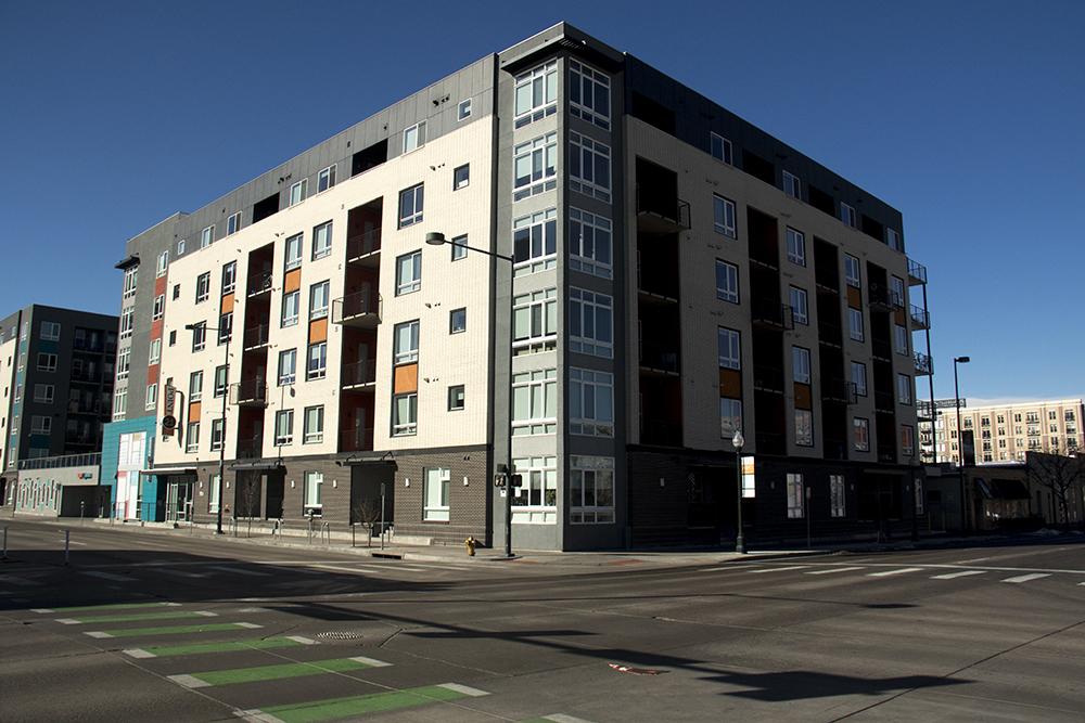 Apartments on Lawrence Street. (Kevin J. Beaty/Denverite)  residential real estate; apartments; ballpark; five points; development; homeless;